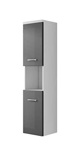 Badezimmer Schrank Montreal 131 cm Hochglanz Grau Fronten – Regel Schrank Hochschrank Schrank Möbel Badschrank
