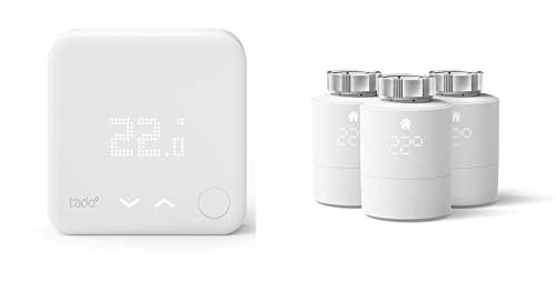 tado° Sensor de Temperatura Inalámbrico, Accesorio para los Cabezales Termostáticos Inteligentes, Instálalo Tú Mismo + Cabezal Termostático Inteligente, 3-Pack – Accesorio para Control de Habitaciones