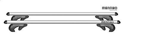 Menabo 0954001 Brio Set portatutto da Tetto Alluminio Universale per Barre longitudinali, Argento, L