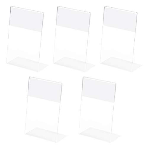 YOTINO A5 Porta Precios Transparente SoportesSoporte para letrero de 5 paquetes soportes de exhibición inclinados A5, soportes de presentación de acrílico en forma de L (transparente)