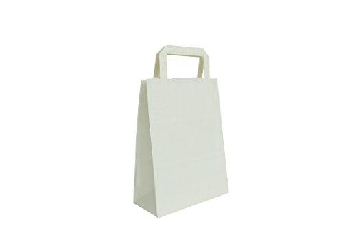 Carte Dozio - Shopper in Kraft color Bianco, maniglia piatta, f.to cm 27+12x37, cf 25 pz