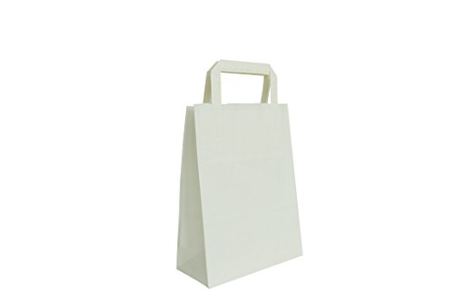 Carte Dozio - Shopper in Kraft Color Bianco, Maniglia Piatta, F.To Cm 18+8 X 24, Cf 25 Pz