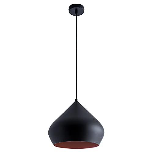 Paco Home Luminaria Suspensión Cocina Colgante Comedor Mesa Ø38cm Interior De Cobre 1,5m Cable Textil Recortable E27, Bombilla:Sin bombillas, Color:Negro Cobre