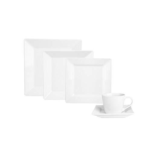KARACA Serie Denisa 30 TLG. Weiß Porzellan Geschirrset Kombiservice Tafelservice mit 6 Suppenteller, 6 Speiseteller, 6 Servierteller, 6 Dessertteller, 6 Untertasse