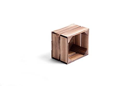 Caja de madera para fruta o vino, color oscuro, 22 x 20 x 15 cm