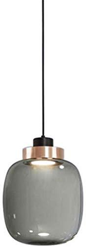 Moderne led-hanglampen, ronde grijze glazen hanglamp voor eettafel, in hoogte verstelbare hangverlichting kroonluchter voor eetkamer, slaapkamer en woonkamer, b