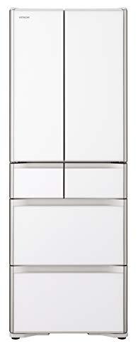 日立 冷蔵庫 430L 6ドア 強化ガラスドア 観音開き 本体日本製 幅65.0cm 真空チルド R-XG43J XW クリスタルホワイト