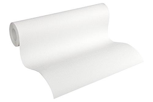 A.S. Création Vliestapete Meisterputz 15 m Tapete Alternative zur Rauhfaser Unitapete 15,00 m x 0,53 m weiß Made in Germany 336910 3369-10