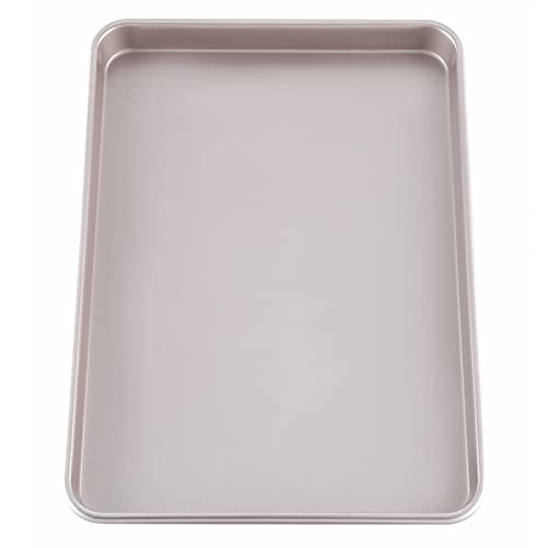 """CHEFMADE 17-Inch Baking Sheet Pan, Non-Stick Carbon Steel Rimmed Cookie Sheet Pan for Oven Roasting Meat Bread Jelly Roll Battenberg Pizzas Pastries 12.8"""" x 17.7"""" x 1.1"""" (Champagne Gold)"""