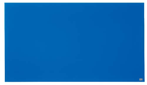 Nobo Pizarra Magnética de Cristal Con Bandeja para Rotuladores Extraíble, 1260 x 710 mm, Sistema de Instalación InvisaMount, Impression Pro, Azul, 1905189