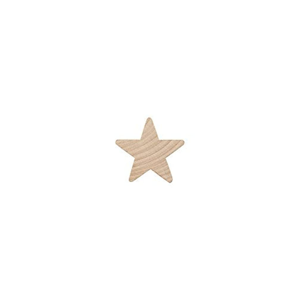 """Wood Star ?"""",small star, Natural Unfinished Wooden Star Cutout Shape (3/4 Inch) - Bag of 25"""