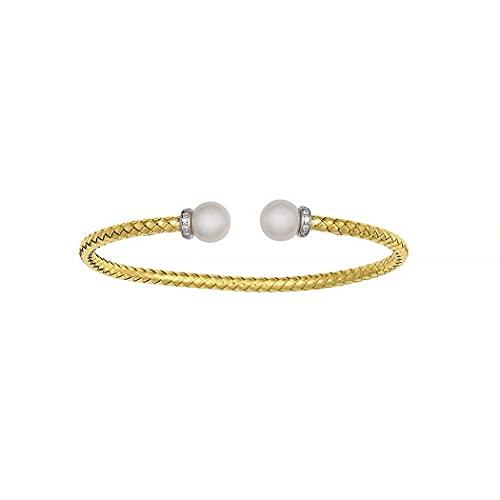 Pulsera de oro amarillo de 18 quilates con perla de 20 DWT de diamantes de 7 pulgadas, joyería de regalo para mujeres