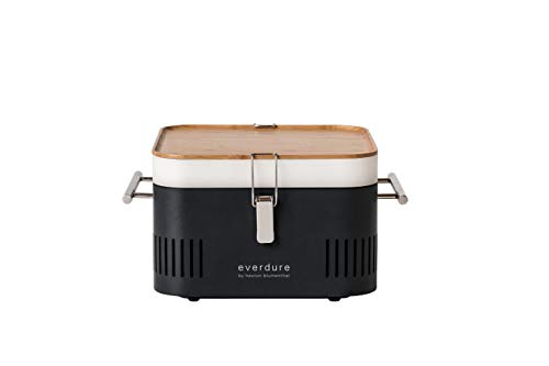 Everdure by Heston Blumenthal Cube Portable Charcoal Grill Perfect for Picnics, Tailgating, Beach, Camping or Tabletop Patio BBQ, Lightweight and Compact, Graphite