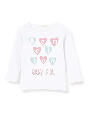 United Colors of Benetton T-Shirt M/l Camiseta de Manga Larga, Blanco (Bianco 101), 68 para Bebés