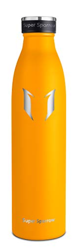 Super Sparrow Edelstahl Trinkflaschen | Premium Isolierflasche - 350ml | Sport-Wasserflasche | Auslaufsichere Kappe | BPA-frei | Ideale Thermosflasche für Schule, Outdoor, Fahrrad, Fitness