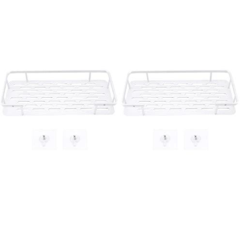Beada 2 scaffali per doccia in alluminio Adhesive per shampoo, contenitore per riporre oggetti senza foratura, rettangolare, da parete