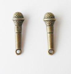 3 Pcs Antique Bronze Microphone Charm