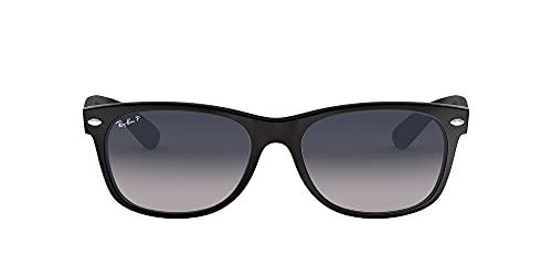 Ray-Ban RB2132 New Wayfarer Sunglasses, Matte Black/Polarized Blue Gradient, 55 mm
