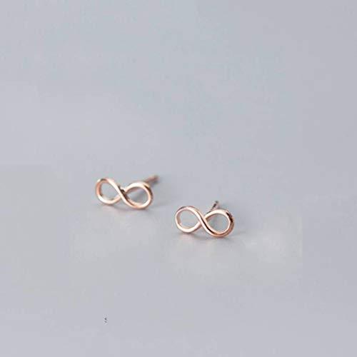 S&RL S925 Pendientes de Plata Moda Japonesa Y Coreana para Mujer Pequeña Y Fresca con Forma de 8 Infinitos Pendientes de Corazón para Niñaoro y rosa, Plata 925
