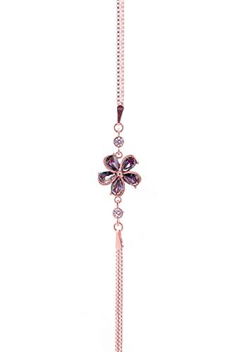 Pulsera de plata de ley 925 con piedra de cuarzo místico, diseño de rosa