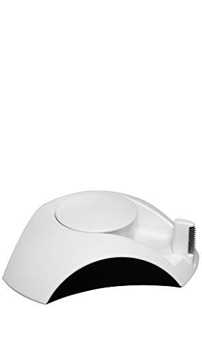 HAN 1756-13 plakfolie-dispenser DELTA, met plakband 10 m x 15 mm, rubberen voetjes wit-zwart