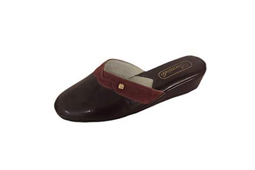 Bocciolo Ciabatta Comoda Pantofola da Camera Donna in Pelle E CAMOSCIO E Sintetico Tacco 40 Modello 429 Made in Italy (Bordeaux, Numeric_35)
