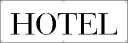 Werbeplane / Gerüstplane - p14 - Hotel - Zimmer frei - Plane - Banner 150cm x 50 cm - für Baustelle, Garten, Zaun oder Veranstaltung