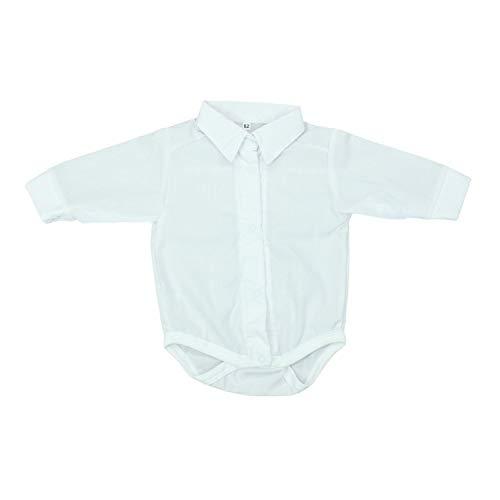TupTam Unisex Baby Hemd-Body Langarm mit Kragen, Farbe: Weiß, Größe: 80