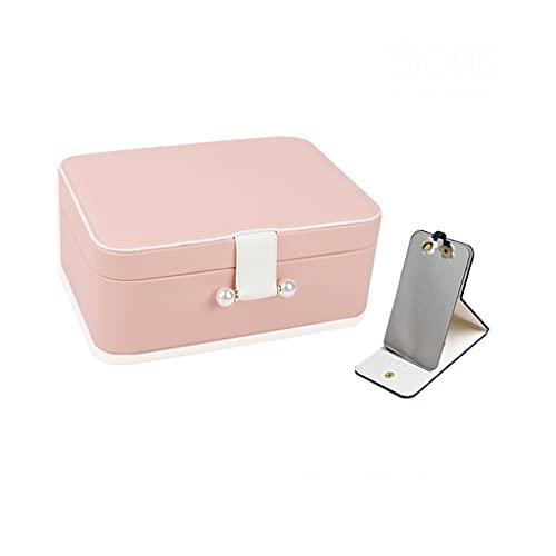 Yousiju Joyero Caja de joyería Almacenamiento Pendientes Papelización Pantalla de Almacenamiento Mostrar Caja Organizador para Viajes (Color : Pink)