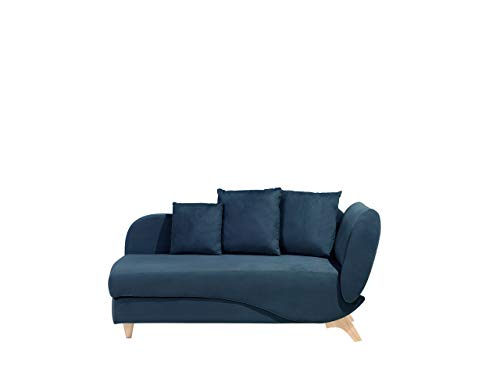 Beliani Stilvolle Recamiere Polsterbezug dunkelblau rechtsseitig Meri