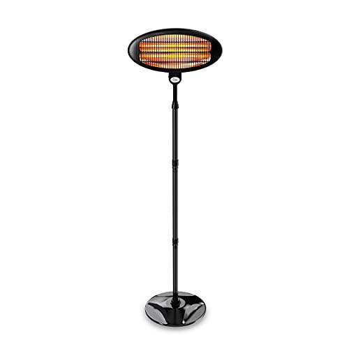 suntec Calefactor de terraza | Radiador electrico de bajo consumo | Estufa electrica para el exterior | Calentador sin gas ni aceite | Calefaccion portatil con max. 2000w | Emisor de cuarzo Night Sun