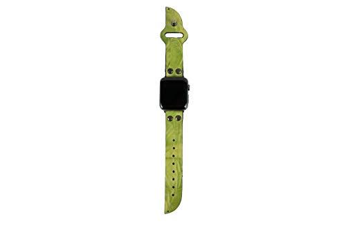 Cinturino Apple Watch 42mm in pelle Verde, Minardi Italian Handmade Basilico, Morbida pelle con Chiusura Rapida a Perno, Bracciale Strap Band for Apple Watch Band Series 1&2 (42mm Verde)