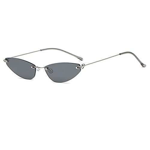 WANGZX Gafas De Sol De Ojo De Gato Sin Marco Gafas De Sol De Montura Pequeña De Moda para Mujer Gafas De Mujer Uv400 C1Silver-Black