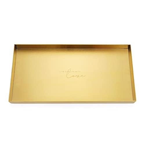 Jovivi Bandeja de almacenamiento de acero inoxidable para joyas, cosméticos, organizador, decoración de mesa, bandeja de metal para el cuarto de baño