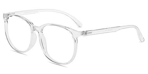 Firmoo Gafas Luz Azul para Mujer Hombre, Gafas Filtro Antifatiga Anti-luz Azul y contra UV400 Ordenador de Gafas Montura TR90 para Protección los Ojos, L1957 Transparentes