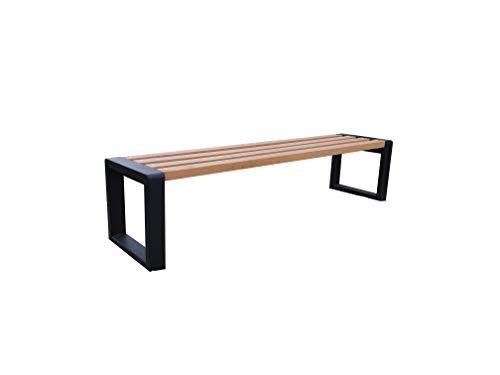 Outdoor Sitzbank Grande ohne Lehne, Robust und Wetterfest, Holz und Metall (verzinkt) Verschiedene Größen und Farben (Pinia, 175)