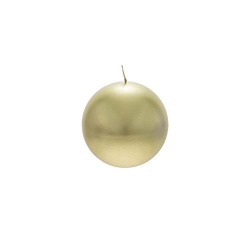 Mega Candles Unscented Gold Round Ball Candle, Hand Poured Premium Wax Candles 4 Inch Diameter, Home Décor, Wedding Receptions, Baby Showers, Birthdays, Celebrations, Party Favors & More