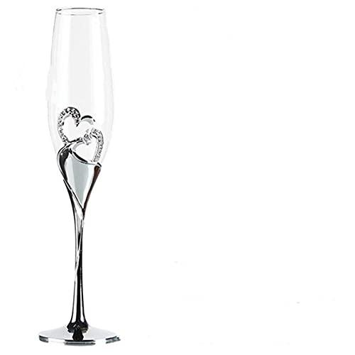 2 unids/set Crystal Champagne Glass Wedding Toasting Flauts Doble Copa Party Matrimonio Decoración de vino Tazas para fiestas Caja de regalo (Color : Clear)