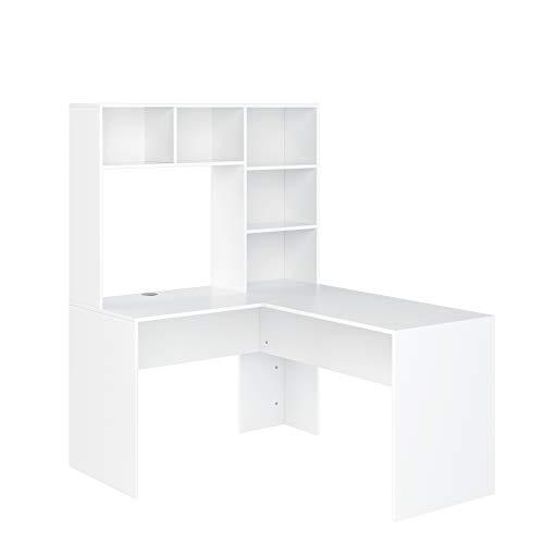 Homfa Schreibtisch Computertisch Eckschreibtisch mit Regal PC Tisch L-Form Arbeitstisch Bürotisch Schreibtischkombination Holz Morden Weiß 108x125x142.5cm