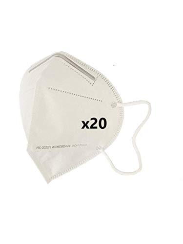 MASCARILLA FFP2 CE 0161 ESSAX - Pack 20 Unidades Mascara de Protección Personal. 5 capas. Mascarilla Alta Eficiencia Filtración, CE 0161 + Normativa EN 149:2001+A1:2009 Fabricada en España (20)