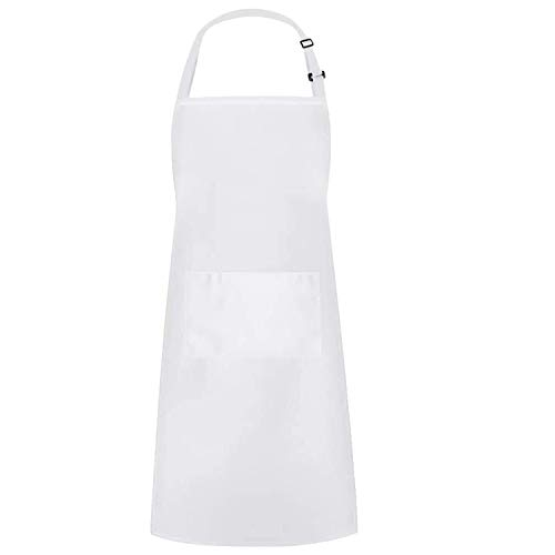 Niuta Adjustable Bib Apron Waterdrop Resistant with 2 Pockets Cooking Kitchen Aprons for Women Men Chef (White)