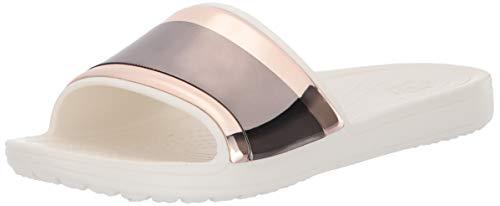 crocs Damen Sloane Metalblock Slide W Dusch- & Badeschuhe, Pink (Multi Rose/Oyster 6pg), 37/38 EU