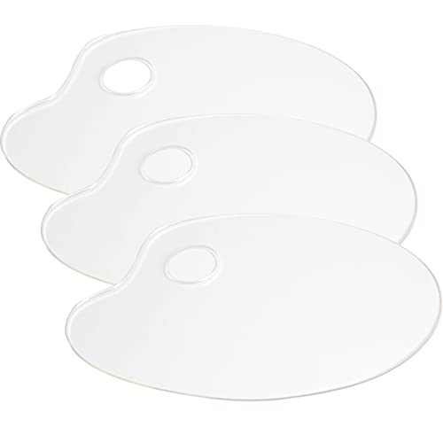 Ira Pollitt 3 Pieces Clear Acrylic Paint Palette, 9.8 x 5.9 inches Oval Non-Stick Oil Paint Palette for DIY Art Craft Painting,Acrylic Oil Paints Mixing - Easy Clean