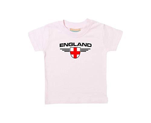 Shirtstown Bébé Enfants-Shirt England, Armoiries Nom Souhaité et Numéro au Choix Land, Pays - Rose, 0-6Monate