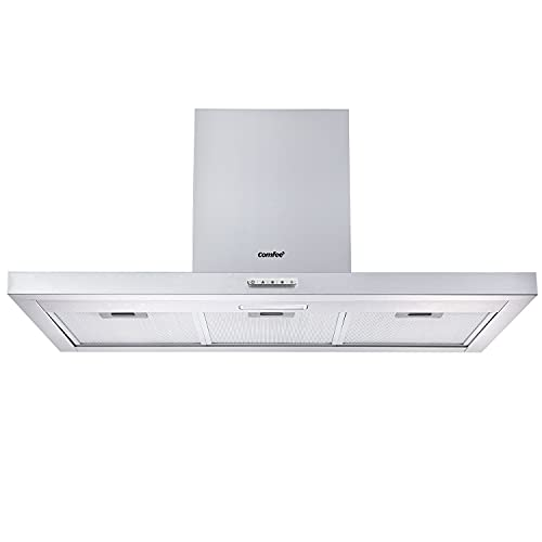 COMFEE' 90 cm Chimney Cooker Hood TSHM17SS-90 Stainless Steel Extractor Hood with LED and Recirculating & Ducting System Wall Mounted Range Hood 900 mm Extractor Fan - Silver