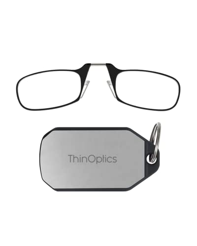 ThinOptics On-Nose Readers + Keychain Case, Portable & Convenient Readers for Men & Women, Thin & Durable Case Easily Attaches to Keychain, Backpack, Golf Bag, Black Frames/Silver Case, 2.0x