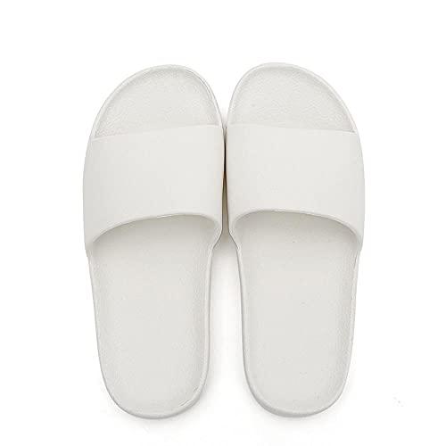 Bossoshe Zapatillas de Playa-Sandalias de Vigas Inferiores Blandas para Interiores, baños Antideslizantes Sandalias de Masaje-Blanco_42-43