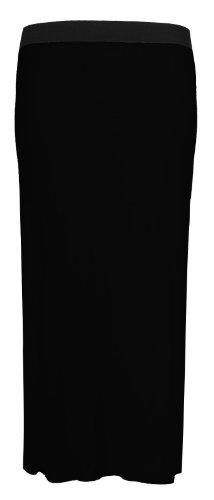 Fast Fashion Damen Übergröße Viskose Jersey Zigeuner Maxiröcken (EUR 52/54 - UK (24-26), Black)