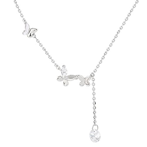 Kaijia Collar de mariposa de plata lindo elegante colgante gargantillas cadena multicapa joyería de moda para mujeres niñas