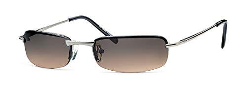 FEINZWIRN Irvillac - Gafas de sol (lentes muy planas, incluye bolsa para gafas), color marrón y plateado